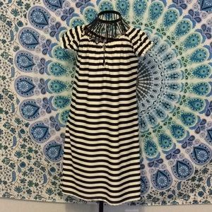 EUC Jude Connally navy white stripe dress sz S